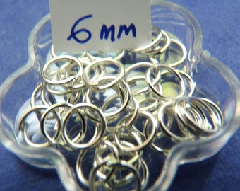 SET of 50 6 mm silver jump rings