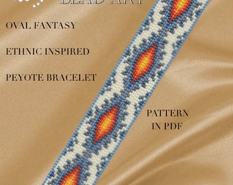 Peyote Pattern for bracelet - Ethnic inspired oval fantasy peyote bracelet pattern in PDF instant download