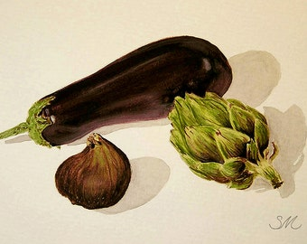 Eggplant Artichoke Fig Still life | Kitchen Art | Small Art