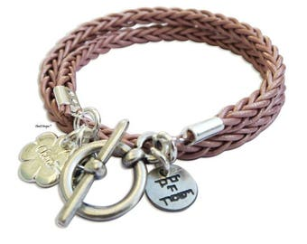 Pink leather wrap bracelet, Bar Mitzva gift, Bath Mitzva gift, Jewish bracelet, bridal shower , women bracelet, Valentine's Day gift idea