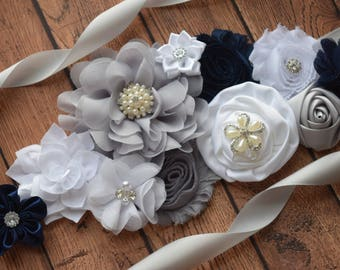 Flower Sash, navy grey white Sash,#2, flower Belt, maternity sash, wedding sash, maternity sash girl, flower girl sash, gray sash