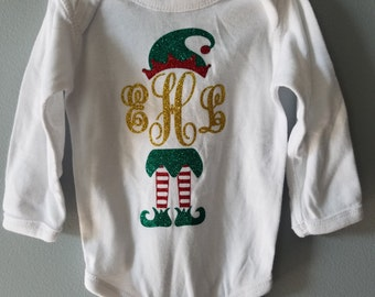 Elf Monogram/ Elf/ Christmas/ Winter/ Vinyl Onesie/ Baby Creeper/ Personalized/ Decorated/ Baby Girl/ Baby Boy