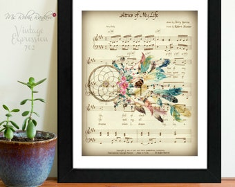 Grateful Dead, Attics of My Life, Music Sheet, Print, Art