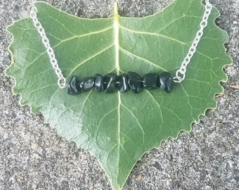 Chipped Obsidian Bar Necklace