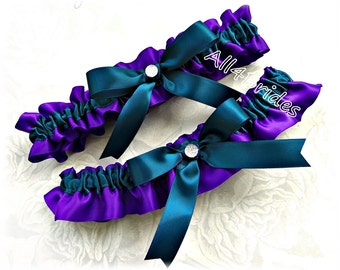 Regency purple and teal wedding bridal garter set, bridal accessories, prom garter set