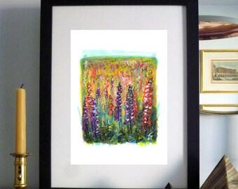 Foxglove Field Flower Art Print / Painting Mixed Media, Wall Art, Decor, Gift