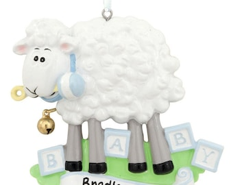Personalized Blue Baby Sheep Ornament