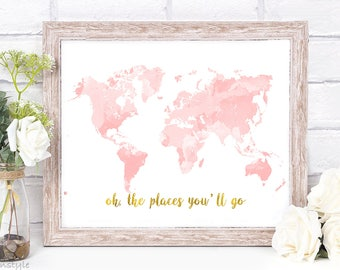 Nursery World Map, Rose Gold Map, Nursery Decor, Pink Gold World Map Print, Wall Art, Wanderlust, Printable Art, Instant Download