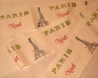 French Vintage Handmade Muslin Ribbon Paris Eiffel Tower Noel  Hand stamped  ECS