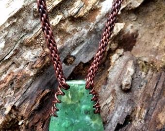 Washington Jade and Leather Braided Necklace