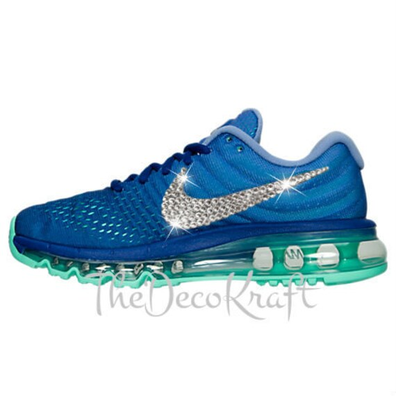 Blinged Women's Blue Nike Air Max 2017 Shoes Bedazzled