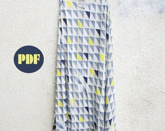 Bias Summer Dress Sewing Pattern and Quick Tutorial Instant Download PDF