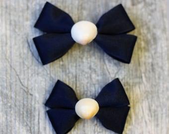 Navy Seashell Hair Bow
