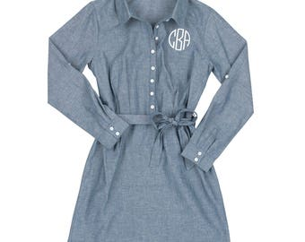 Monogram Dress | Monogram Denim-Looking Dress | Monogram Chambray Dress | Teacher Gift | Birthday Present