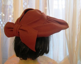 Vintage Rust Wool Picture Hat, ca 1940s