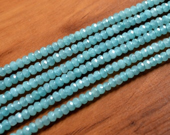"""4mm Blue Amazon Stone Oval Beads Faceted Amazonite Bead 15"""" Full Strand Small Beads Size"""