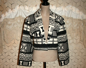 90s Vintage Tribal Jacket Women Woven Tapestry Cropped Jacket Coat Western Cowgirl Southwestern Black White Medium Large Vintage Clothing