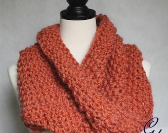 Avalon Orange Knit Mobius Scarf in Alpaca Yarn