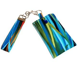 Phone Sleeve Wristlet, Padded Fabric Phone Sleeve Cover Case, Tropical Print Phone Wristlet, Key Fob Sleeve, Gift For Women
