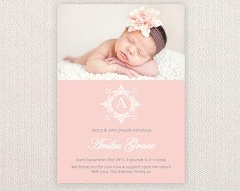 Girls Photo Birth Announcement. I Customize, You Print.