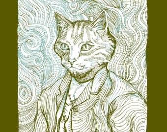 WOMEN'S ORGANIC T-SHIRT - Vincent van Gogh as a Cat in this Self-Portrait revision!