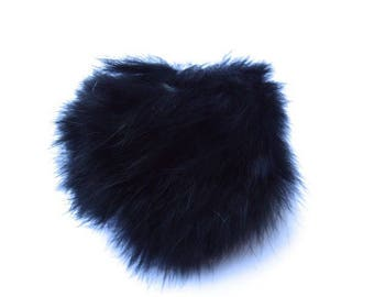Ball of black plush with loop elastic size 60mm
