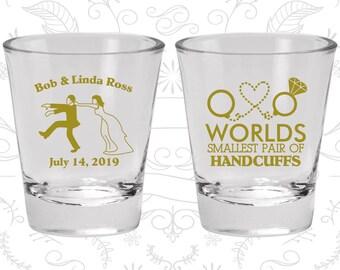 Worlds Smallest Pair of Handcuffs, Customized Shot Glasses, Rehearsal Dinner Shot Glasses, Wedding Rehearsal Shot Glasses (453)