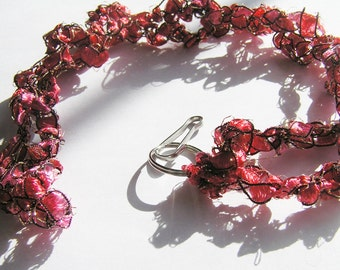 Rosy Red Ladder Ribbon Crocheted Lanyard