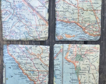 Drink Coasters, Slate tiles with decoupage vintage map, Set of four
