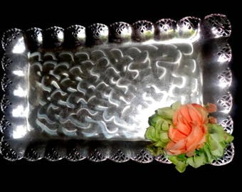 Large silver tray / Vintage silver plate tray / large footed silver tray vanity tray / serving tray / decorative silver tray / footed tray