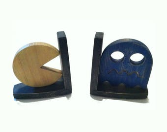 Pacman and Ghost wooden Book-Ends