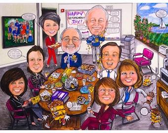 Custom caricature, retirement gift, retirement women, retirement men, retirement cartoon, retirement caricature, psychologist caricatures,