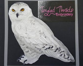 "Snowy Owl Embroidered Patch 6"" x 5.8"""