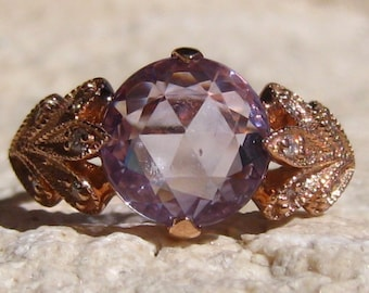 2.59 Carat Violet Rose Cut Sapphire in Rose Gold Freesia Floral Engagement Ring, Violet Sapphire Engagement Ring, Rose Gold Engagement Ring