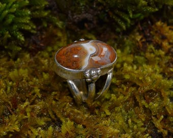 Plume Agate Ring Set in Sterling Silver