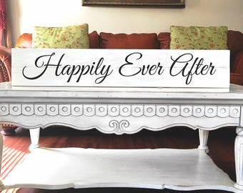 Happily Ever After. | Reclaimed Wood | Wedding sign | Long skinny sign | Long sign for master bedroom | Big sign for home | Sign with saying