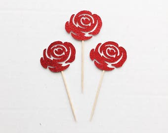 Rose Cupcake Toppers-Birthday-Dessert Table-Donut Toppers-Decorations-Bachelorette-Bachelor-Beauty and the Beast- Floral- Flowers