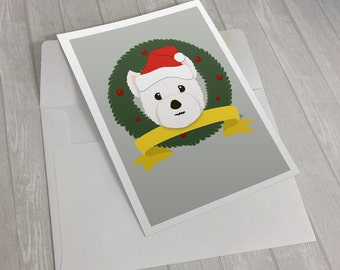 Santa Westie Christmas Card