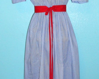 SALE — WAS 46 — 70s Vintage Blue Stripy Cotton Blend Midi Day Dress — Modern size Medium/8-10