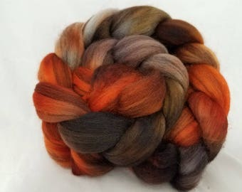 Hand dyed roving, hand dyed mixed bfl roving (combed top) for spinning or felting,  bfl wool -- 'Little Vixen'-- 4 oz.