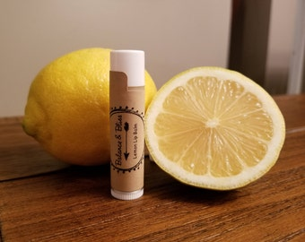 Lemon Lip Balm, all natural lip balm, organic chapstick, essential oil products, chemical free chapstick, lemon chapstick, creamy chapstick,