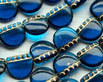 Czech Glass Beads - Dark Aqua and Gold - Elephants Feet - Bead Soup Beads