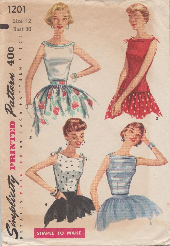 Vintage 50er Jahre Schnittmuster / Einfachheit 1201 / Bluse