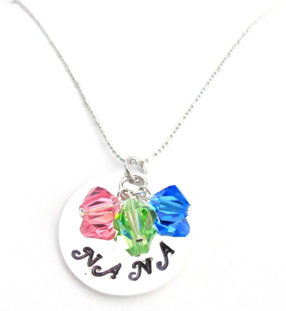 Nana Birthstone Necklace,Hand Stamped Personalized Nana Necklace,Mom,Grandma,Granny,Nanny Necklace,Mother's Day Gift, Free Shipping In USA