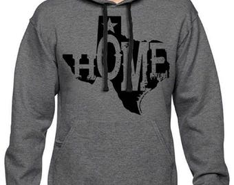Men's State of Texas Home Pullover Hoodie Charcoal Hooded Sweatshirt
