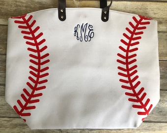 Monogrammed Baseball Tote Bag, Baseball Tote, Baseball Bag, Baseball Tote Bag, Baseball Mom