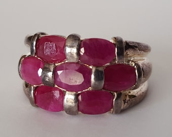 Red Ruby Silver Ring, Size 9, Oval Cut Stones
