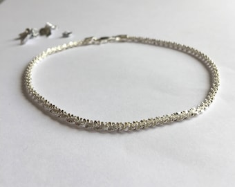 Sterling Silver Sparkly Twist Anklet, Silver Twist Ankle Chain, Beach Anklet