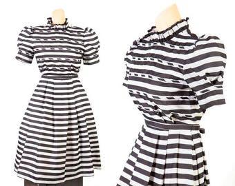 1980s Black and White Striped Dress, Victor Costa