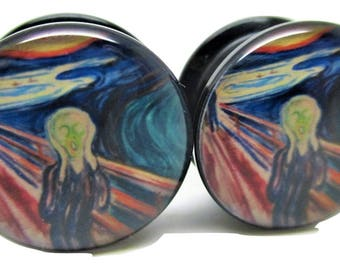 The Scream Ear Plugs - Acrylic Screw-On - New - 8 Sizes - Abstract Art - Pair